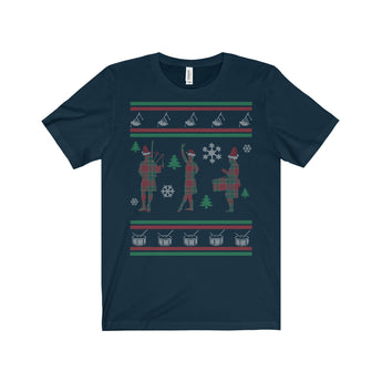 T-Shirt Ugly Christmas Shirt - Bagpipes, Highland Dancer, Drumming - Gracenote Apparel