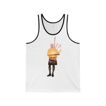Tank Top Bagpiper Sunset Over the Ocean and Rocks Tank Top - Gracenote Apparel