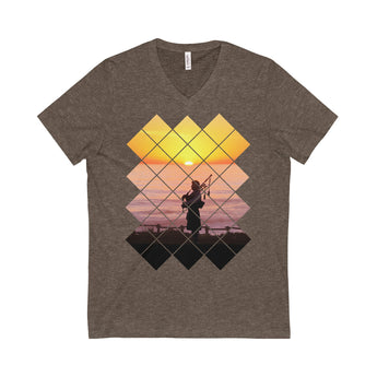 V-neck Sunset Piper Unisex V-Neck T-Shirt - Gracenote Apparel