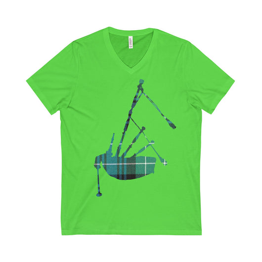 V-neck Tartan Bagpipe V-Neck T-Shirt - Gracenote Apparel