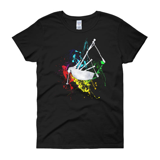 Bagpipe Paint Splatter Women's Crew Neck T-Shirt - Gracenote Apparel