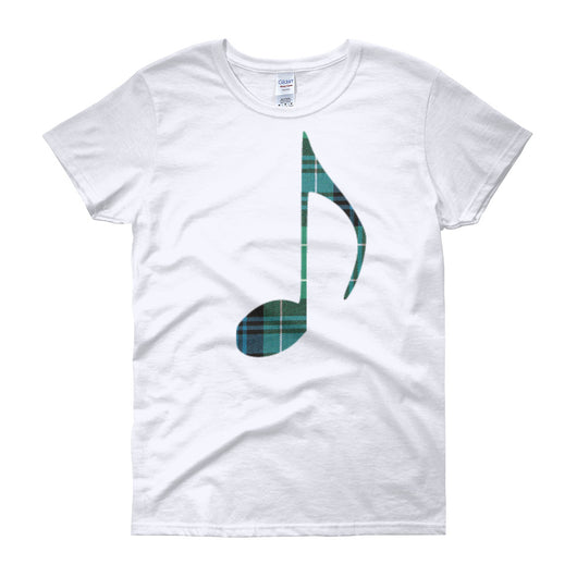 Tartan Music Note Women's Crew Neck T-Shirt - Gracenote Apparel