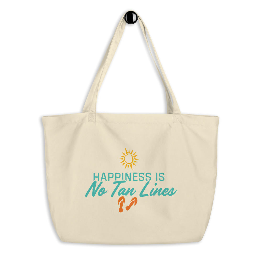 Happiness Is No Tan Lines - Large Tote Bag