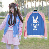 Overwatch Dva I Play To Win Varsity Letterman Jacket - AFK eSport Store (AFKeSportStore.com)