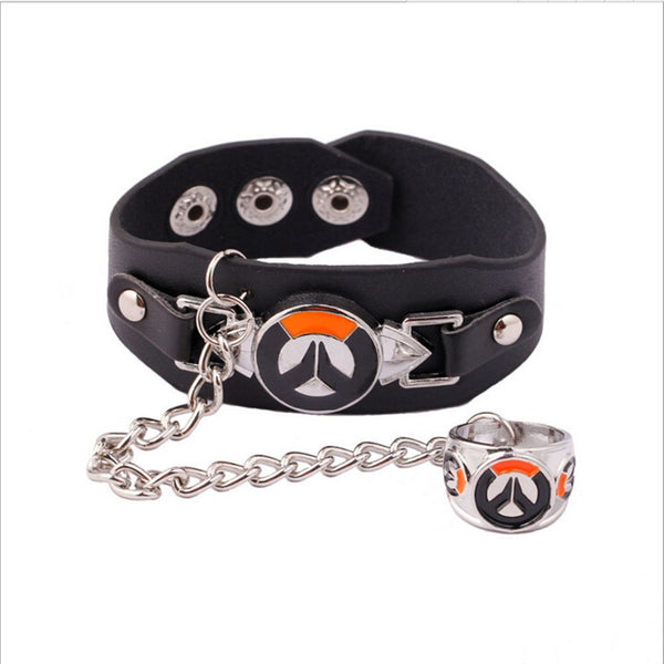 Overwatch Leather Punk Style Bracelet with Ring & Chain - AFK eSport Store (AFKeSportStore.com)