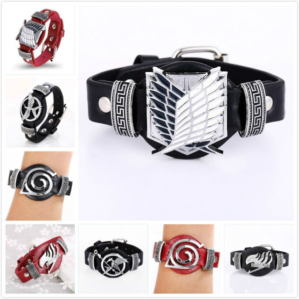 Anime Punk Style Leather Bracelets (Attack on Titan, Bleach, Death Note, Fairy Tail, Naruto) - AFK eSport Store (AFKeSportStore.com)