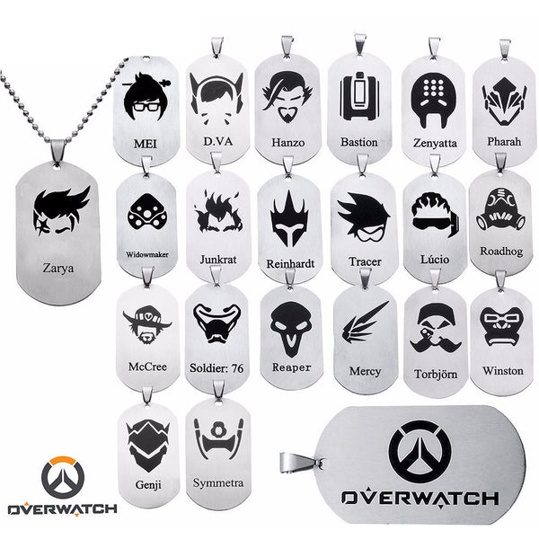 Overwatch Hero Dog Tag Necklaces