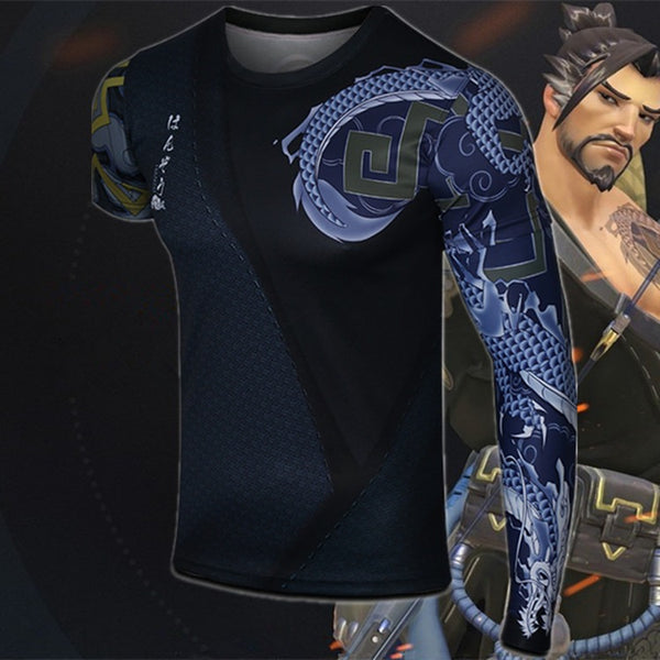 Overwatch Cosplay Hanzo Compression Shirt With Removable Tattoo Sleeve - AFK eSport Store (AFKeSportStore.com)