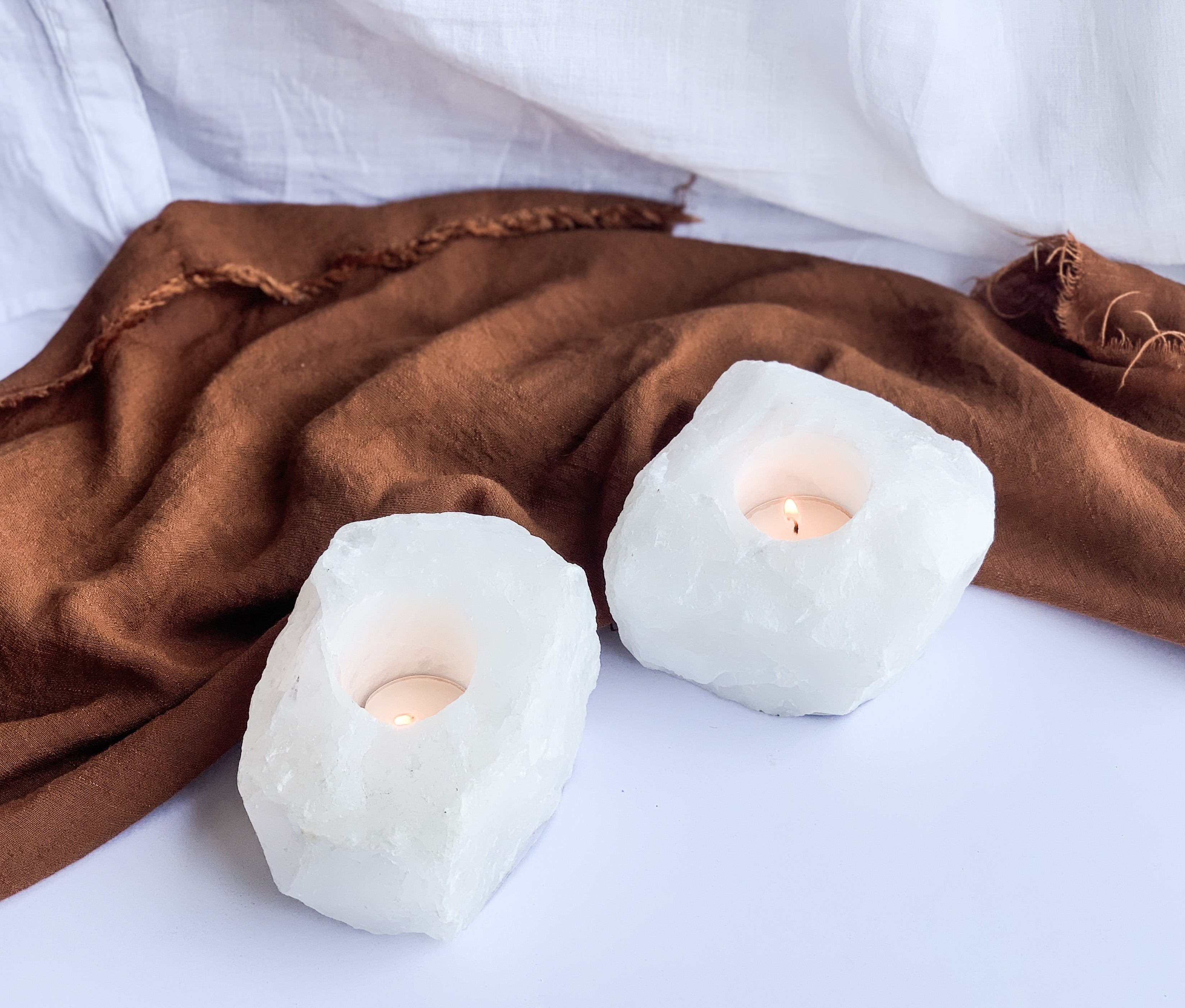 Clear Quartz Rough Candle holder