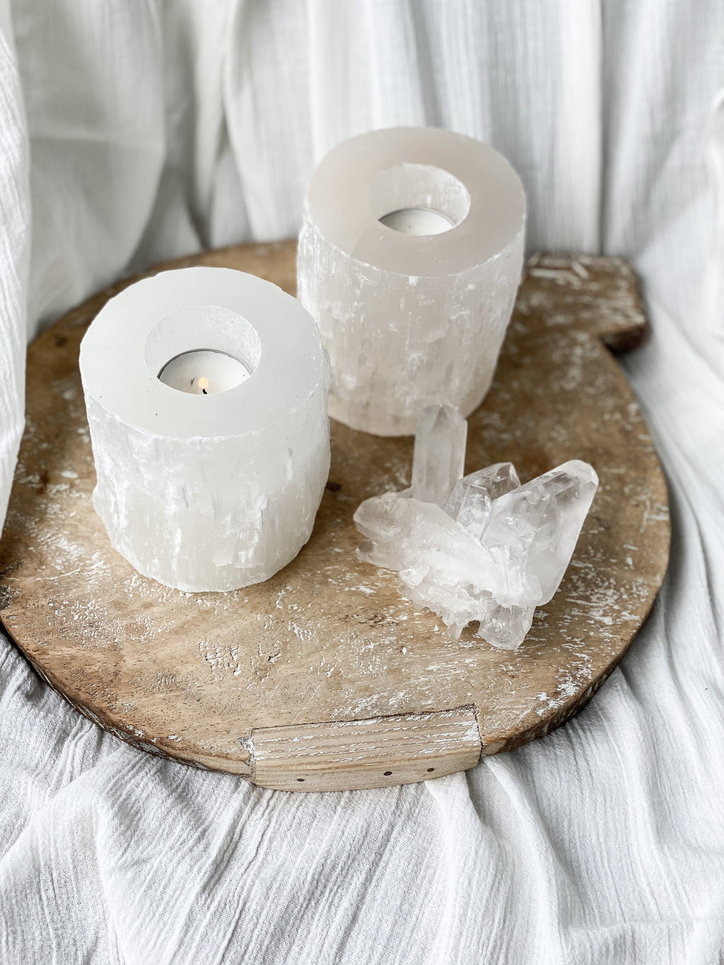 Natural Selenite Crystal candle holder