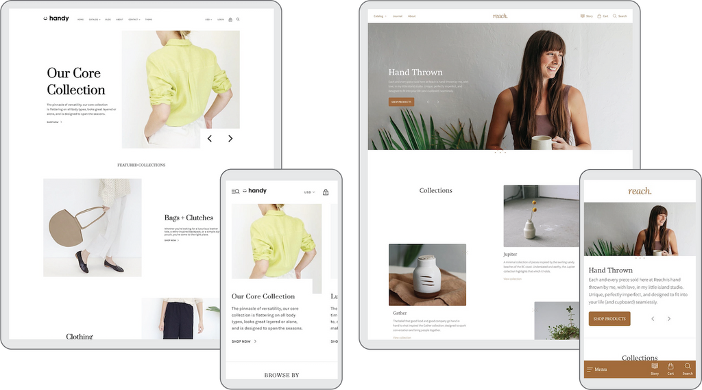 Pixel Union Handy Theme and Reach Theme are Great for Health and Wellness eCommerce Websites on Shopify