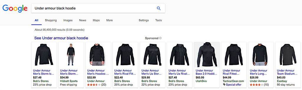 Product Search for Under Armour Blcak Hoodie - Can Your Price in Shopify of BigCommerce Compete