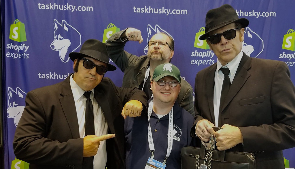 Zach and the Blues Brothers Crew in the TaskHusky Booth at IRCE 2018 Representing Shopify and BigCommerce Development