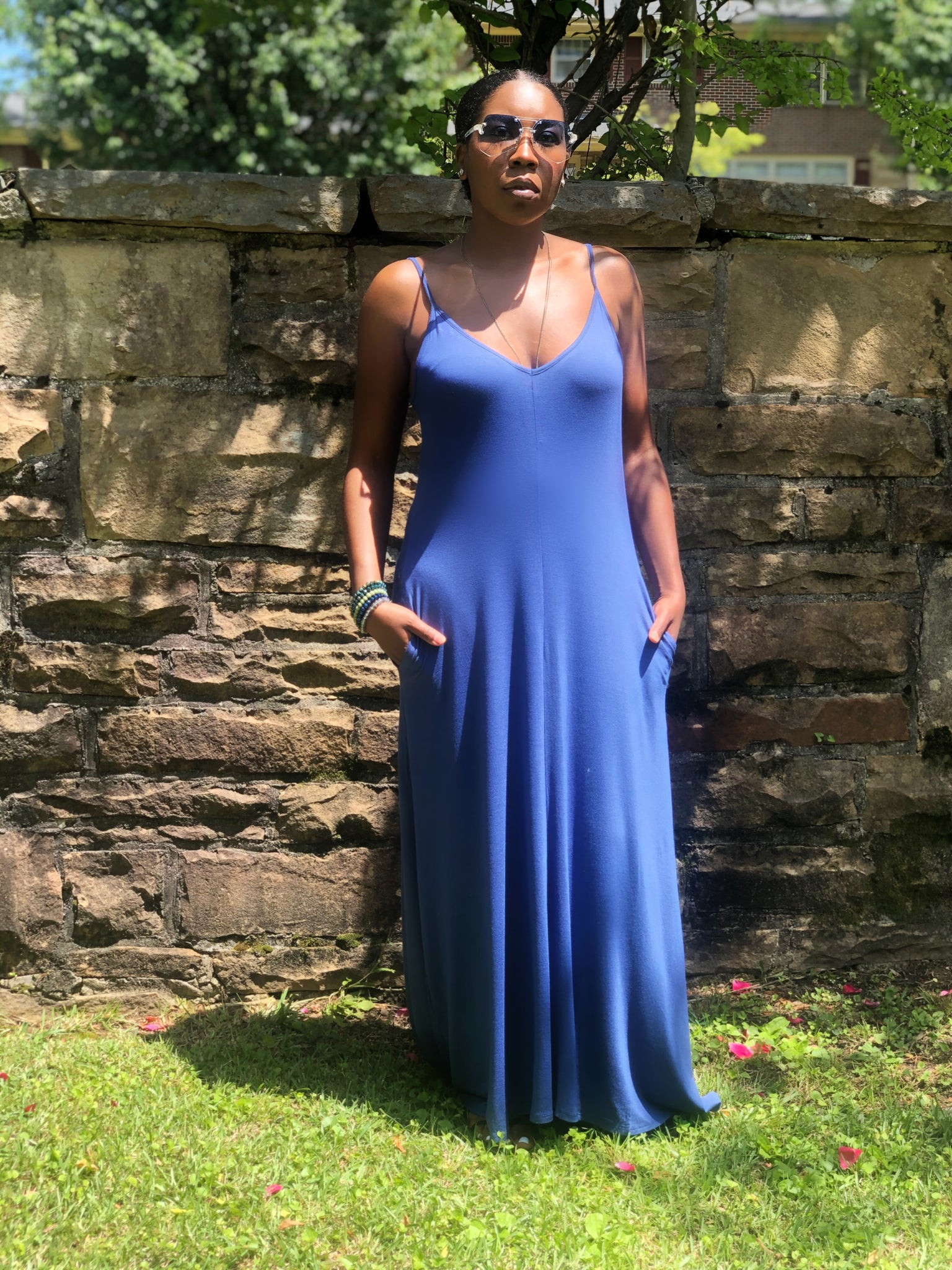 Mom Vibe maxi dress(blue)