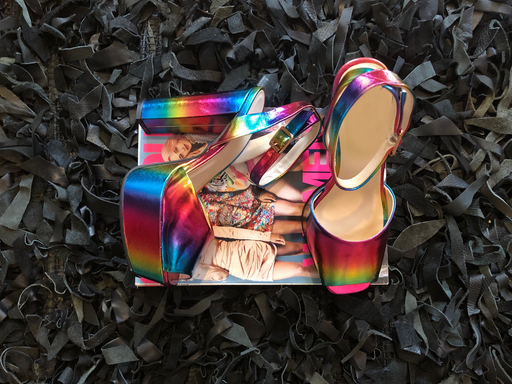 Step into the rainbow heels