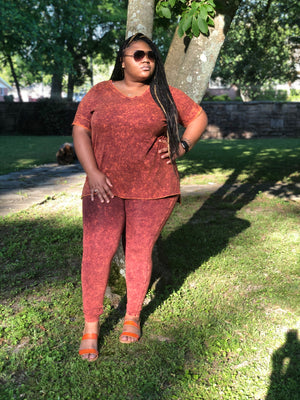 Let's Chill two piece set(Rust)Curvy