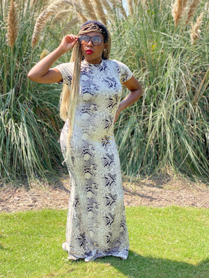 Queen Cobra snakeskin maxi dress