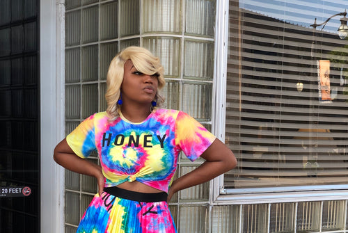 Honey tie dye crop top