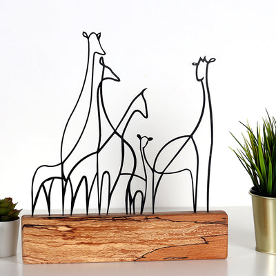 Bystag metal ahşap dekoratif masa süs dekoru-raf dekoru-hediyelik aksesuar-biblo-raf için süs-zürafa- Bystag metal wood decorative desk ornament-ornamental decor- wood metal decor-giraffe