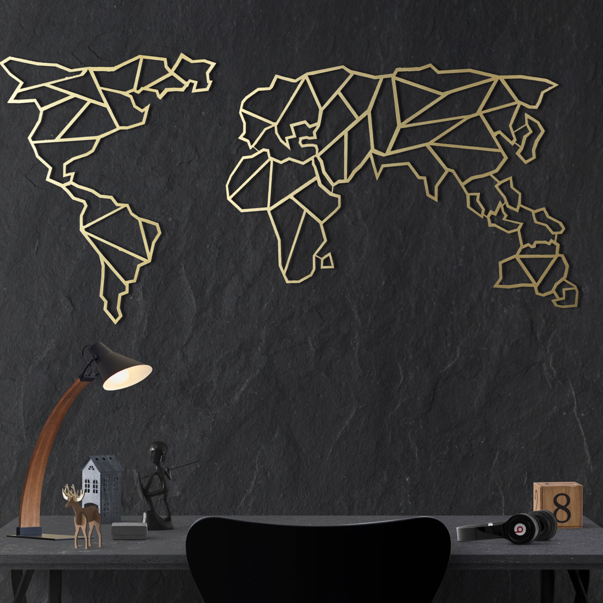 Bystag metal dekoratif duvar aksesuarı dünya haritası- Bystag metal wall art-wall art-wall decor-metal wall decor-world map-metal world map-gold world map