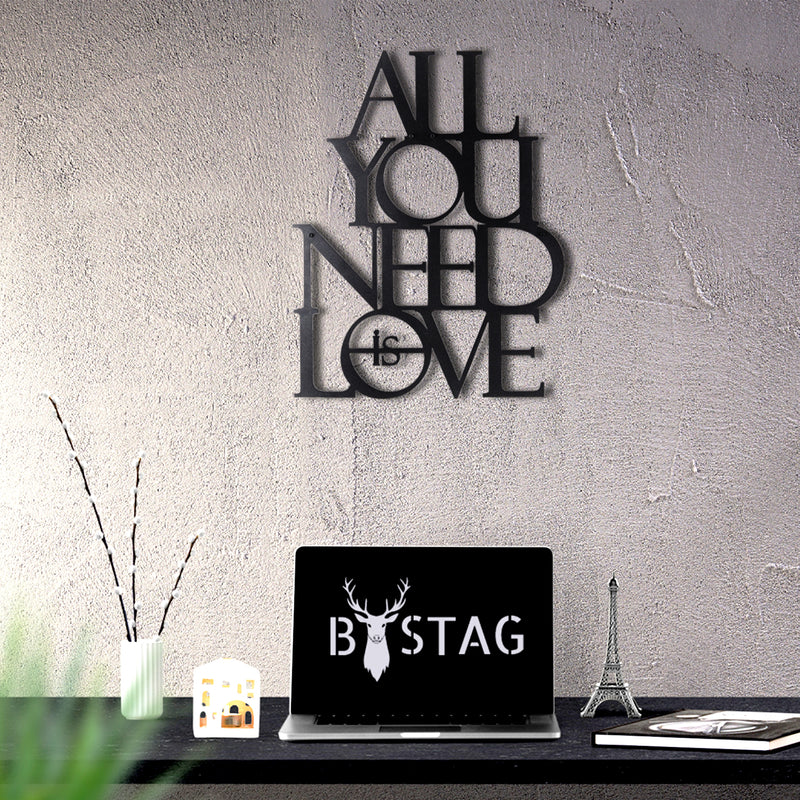 Bystag metal dekoratif duvar aksesuarı all you need is love- Bystag metal wall art-wall art-wall decor-metal wall decor-all you need is love