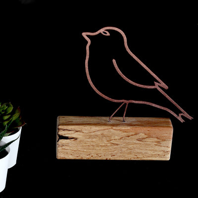 Bystag metal ahşap dekoratif masa süs dekoru-raf dekoru-hediyelik aksesuar-biblo-raf için süs-kuş- Bystag metal wood decorative desk ornament-ornamental decor- wood metal decor-bird