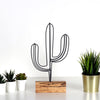 Bystag metal ahşap dekoratif masa süs dekoru-raf dekoru-hediyelik aksesuar-biblo-raf için süs-kaktüs- Bystag metal wood decorative desk ornament-ornamental decor- wood metal decor-cactus