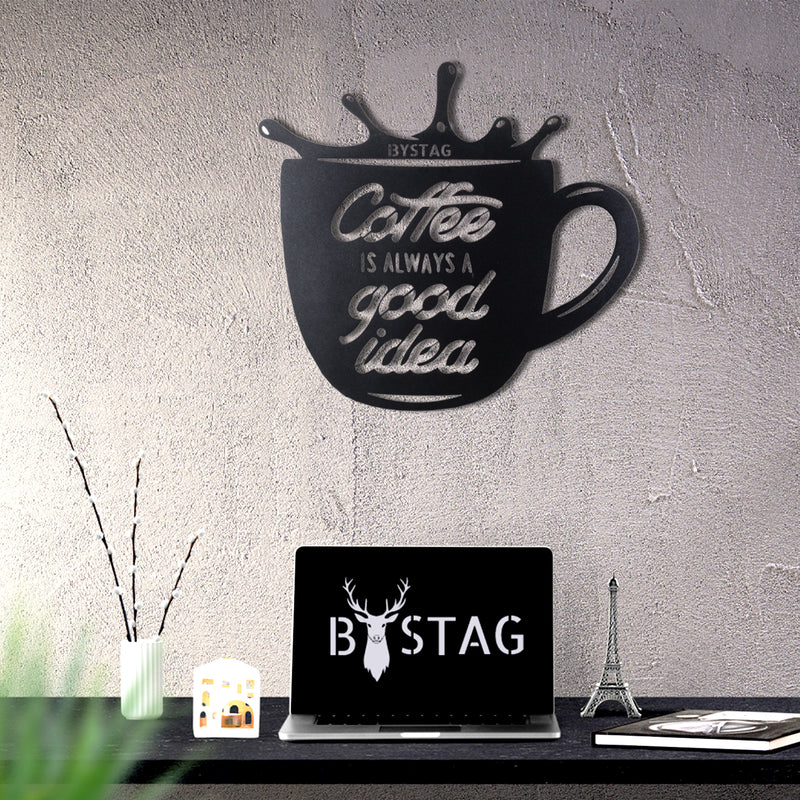 Bystag metal dekoratif duvar aksesuarı coffee- Bystag metal wall art-wall art-wall decor-metal wall decor-coffee