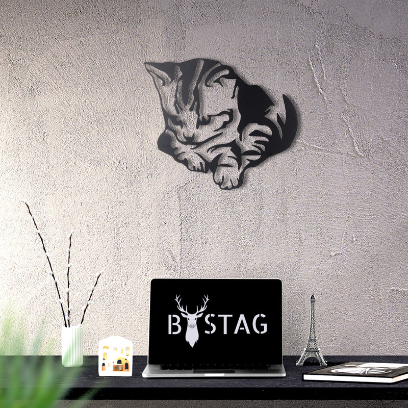 Bystag metal dekoratif duvar aksesuarı kedi- Bystag metal wall art-wall art-wall decor-metal wall decor-cat-animal