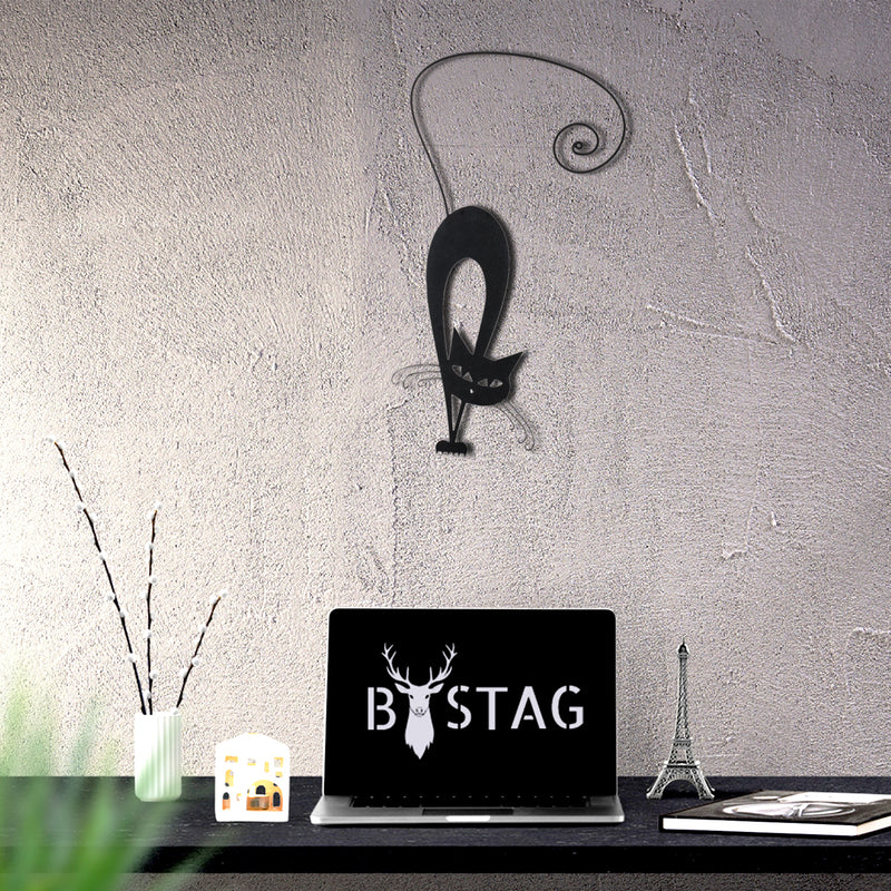 Bystag metal dekoratif duvar aksesuarı kedi- Bystag metal wall art-wall art-wall decor-metal wall decor-cat