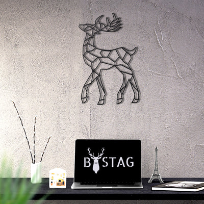 Bystag metal dekoratif duvar aksesuarı geyik-ceylan- Bystag metal wall art-wall art-wall decor-metal wall decor-deer