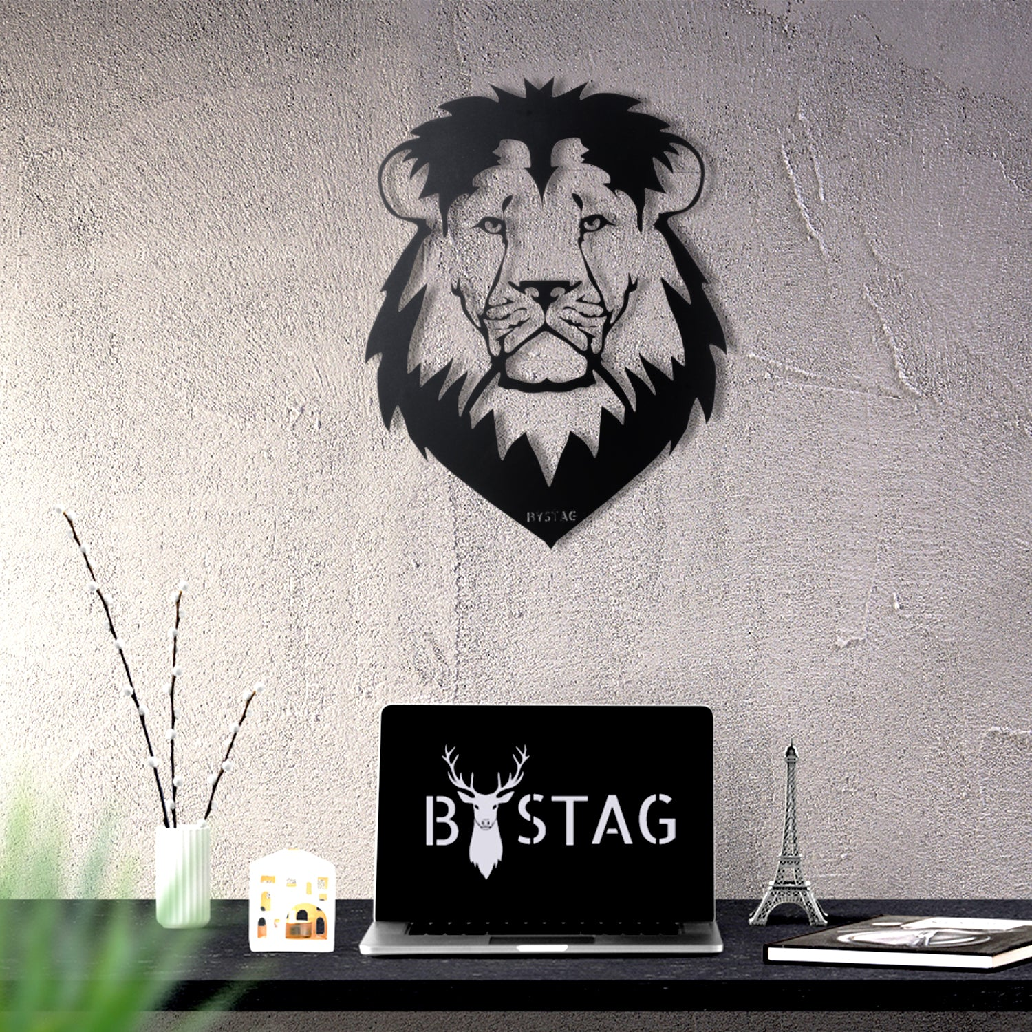 Bystag metal dekoratif duvar aksesuarı aslan- Bystag metal wall art-wall art-wall decor-metal wall decor-lion