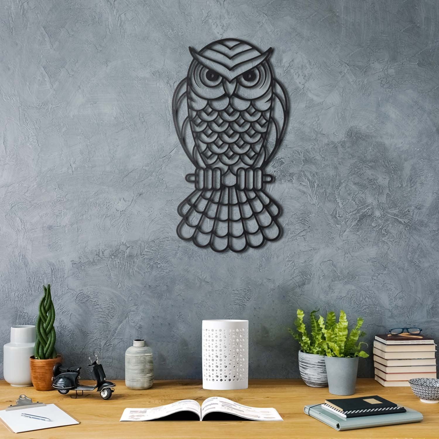 Bystag metal dekoratif duvar aksesuarı baykuş- Bystag metal wall art-wall art-wall decor-metal wall decor-owl