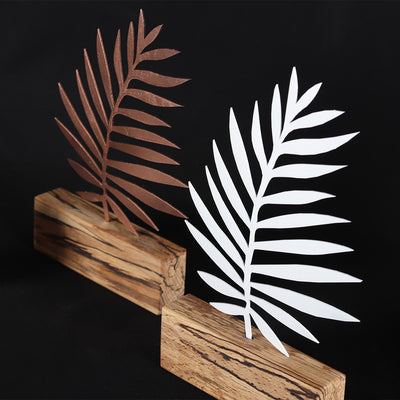Bystag metal ahşap dekoratif masa süs dekoru-raf dekoru-hediyelik aksesuar-biblo-raf için süs-yaprak- Bystag metal wood decorative desk ornament-ornamental decor- wood metal decor-leaf