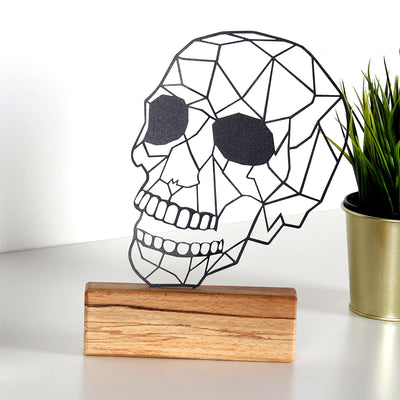 Bystag metal ahşap dekoratif masa süs dekoru-raf dekoru-hediyelik aksesuar-biblo-raf için süs-kuru kafa- Bystag metal wood decorative desk ornament-ornamental decor- wood metal decor-skull
