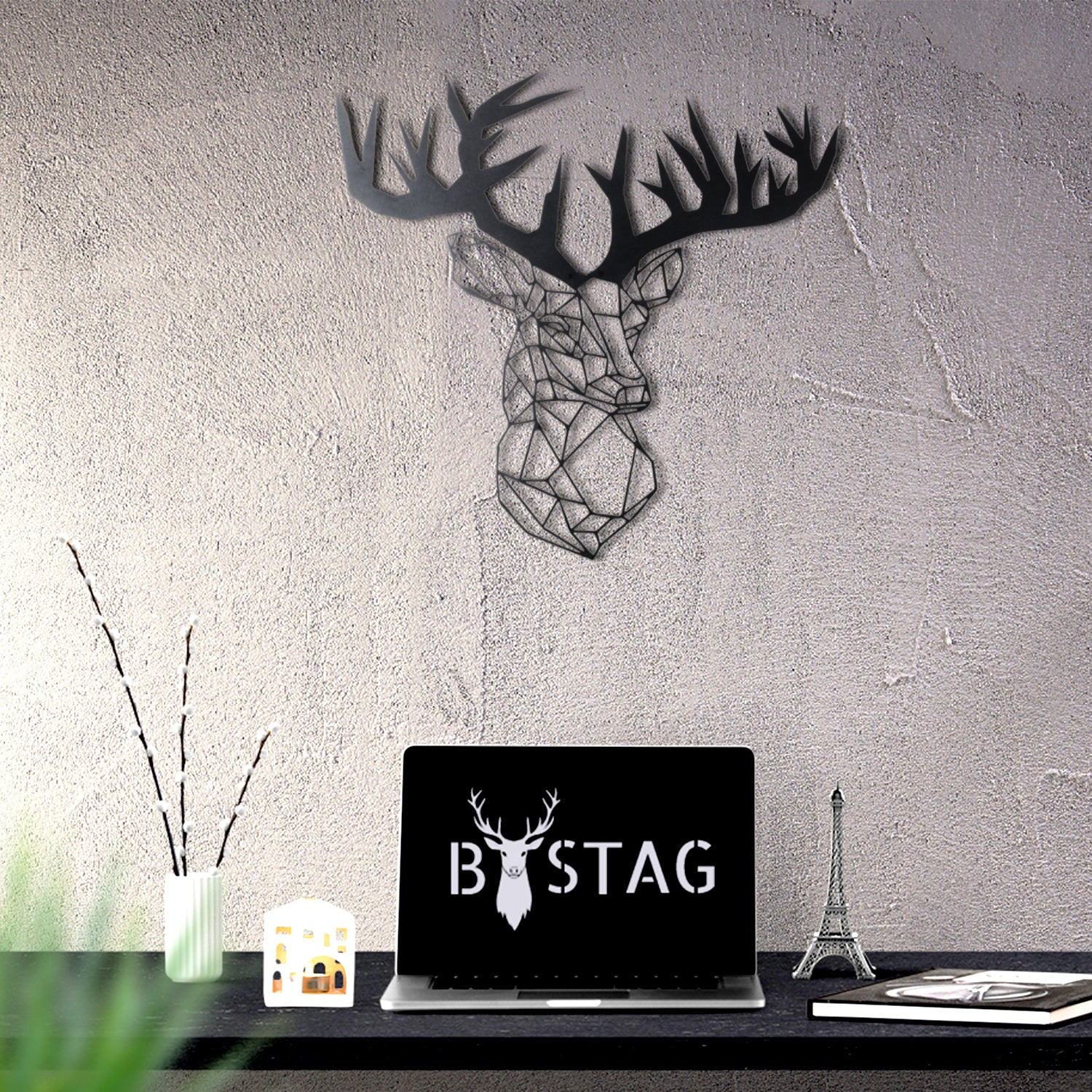 Bystag metal dekoratif duvar aksesuarı geyik- Bystag metal wall art-wall art-wall decor-metal wall decor-stag