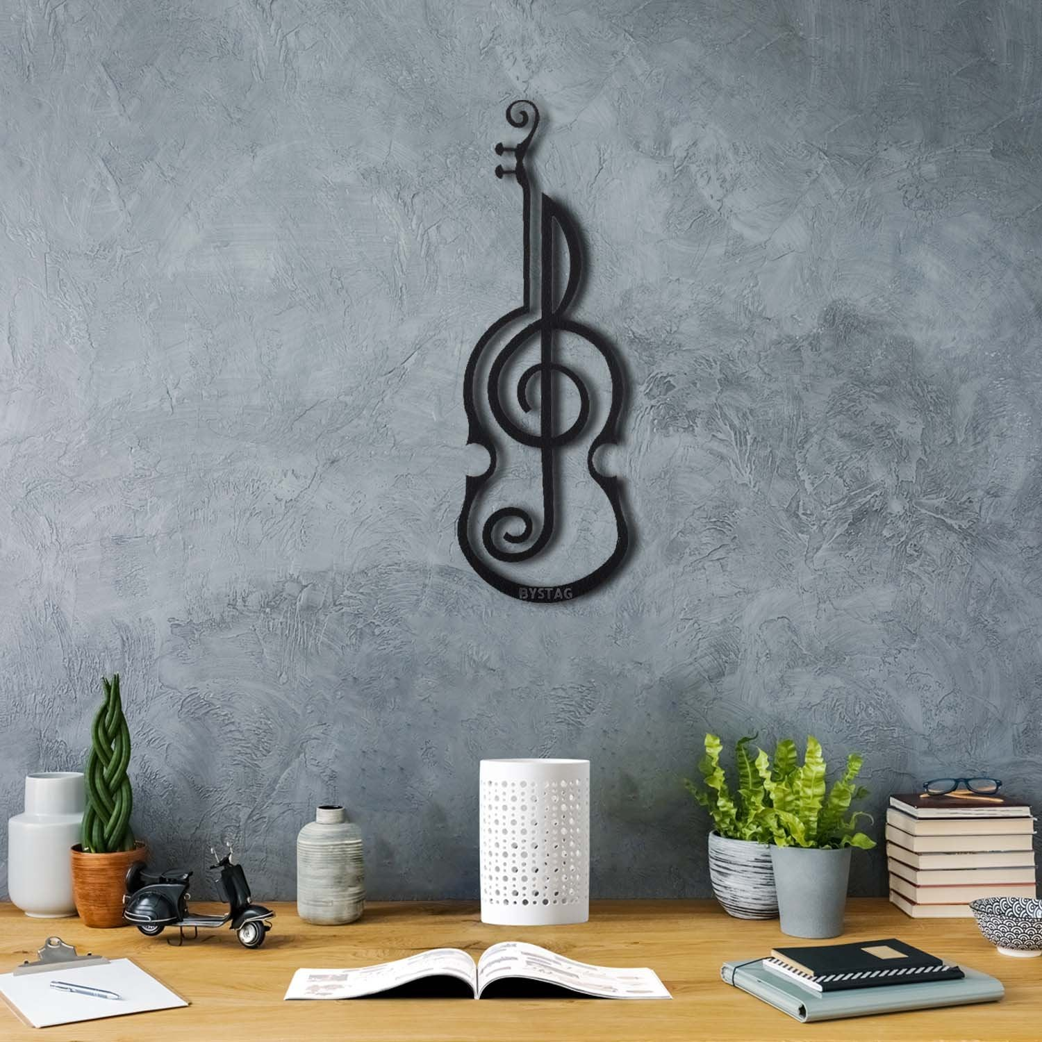 Bystag metal dekoratif duvar aksesuarı violin- Bystag metal wall art-wall art-wall decor-metal wall decor-violin