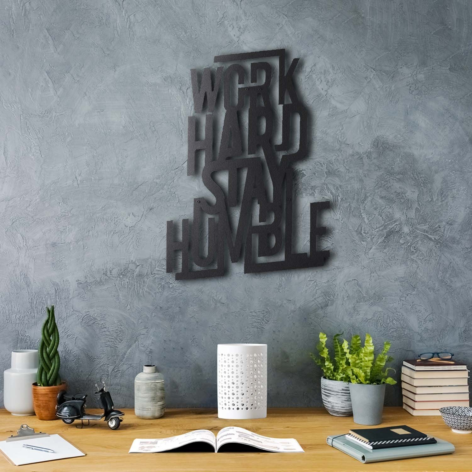 Bystag metal dekoratif duvar aksesuarı work hard stay humble- Bystag metal wall art-wall art-wall decor-metal wall decor-work hard stay humble