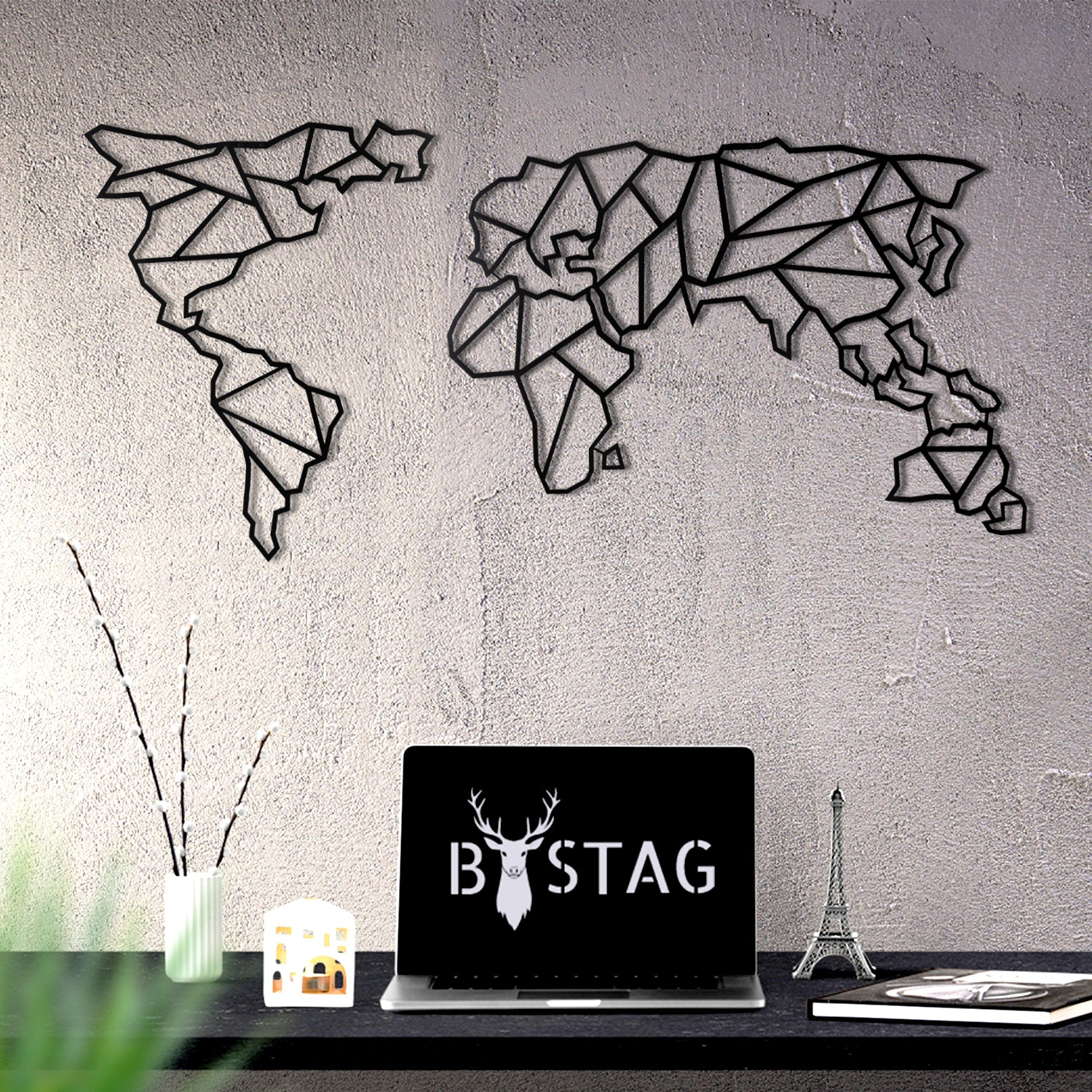 Bystag metal dekoratif duvar aksesuarı dünya haritası- Bystag metal wall art-wall art-wall decor-metal wall decor-world map-metal world map