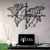 Bystag metal dekoratif duvar aksesuarı dünya haritası- Bystag metal wall art-wall art-wall decor-metal wall decor-world map-metal world map-world map compass