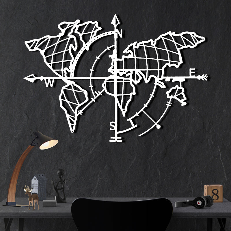 Bystag metal dekoratif duvar aksesuarı dünya haritası- Bystag metal wall art-wall art-wall decor-metal wall decor-world map-metal world map-white world map compass