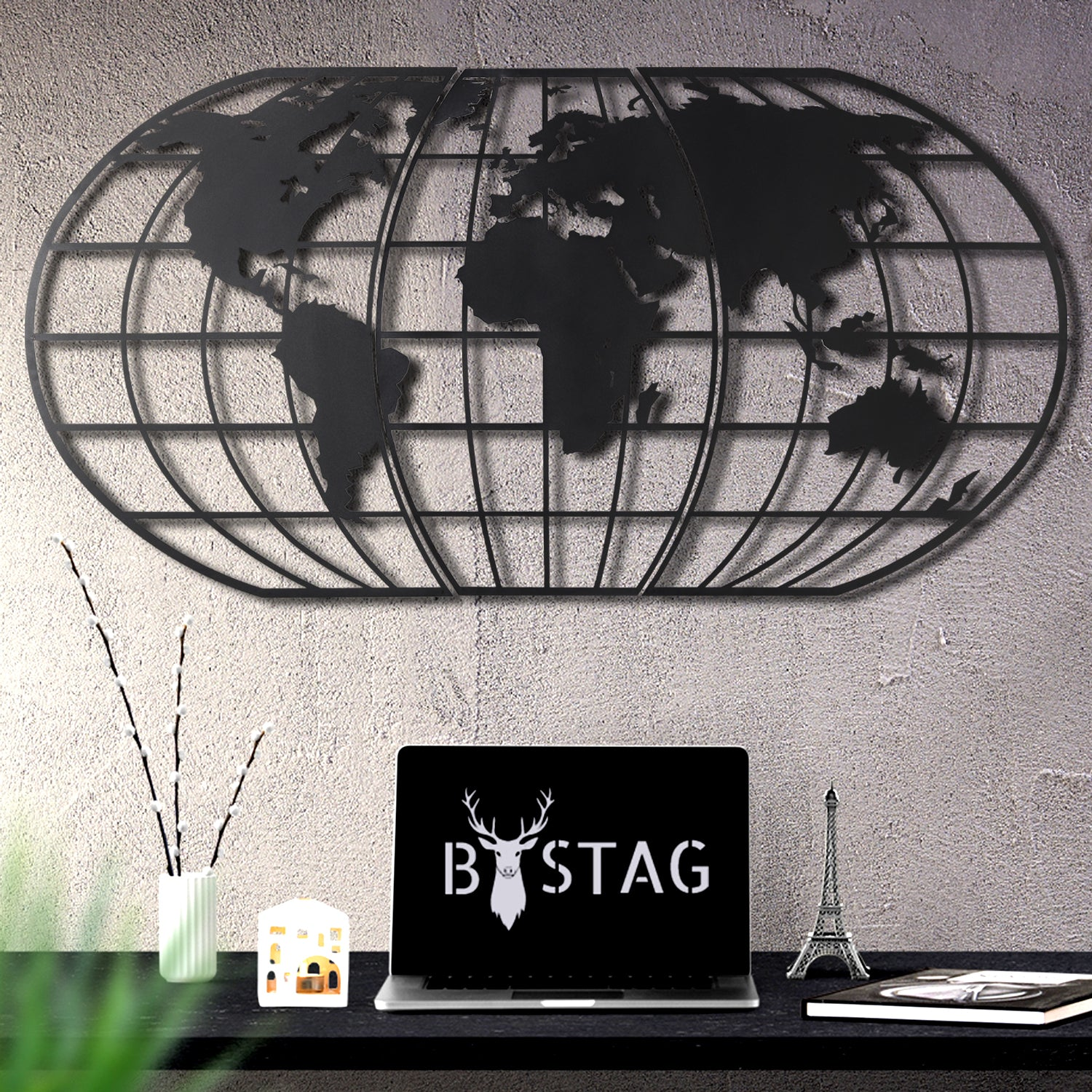 Bystag metal dekoratif duvar aksesuarı dünya haritası- Bystag metal wall art-wall art-wall decor-metal wall decor-world map-metal world map-black world map globe-globe