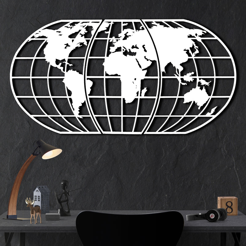 Bystag metal dekoratif duvar aksesuarı dünya haritası- Bystag metal wall art-wall art-wall decor-metal wall decor-world map-metal world map-white world map globe-globe