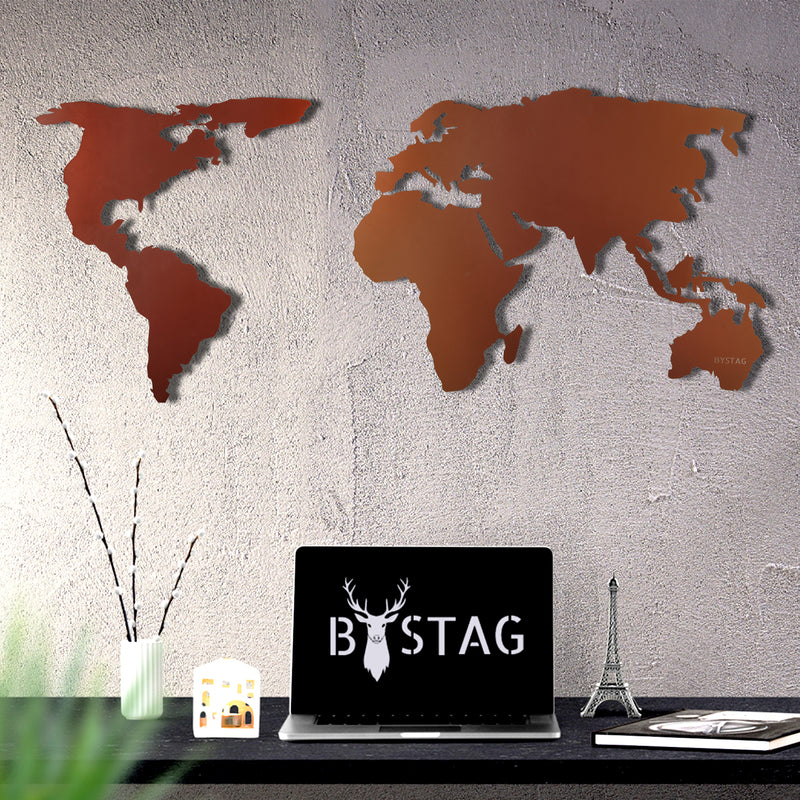 Bystag metal dekoratif duvar aksesuarı dünya haritası- Bystag metal wall art-wall art-wall decor-metal wall decor-world map-metal world map-bronze world map