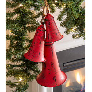 Set of Three Red Metal Holiday Bells