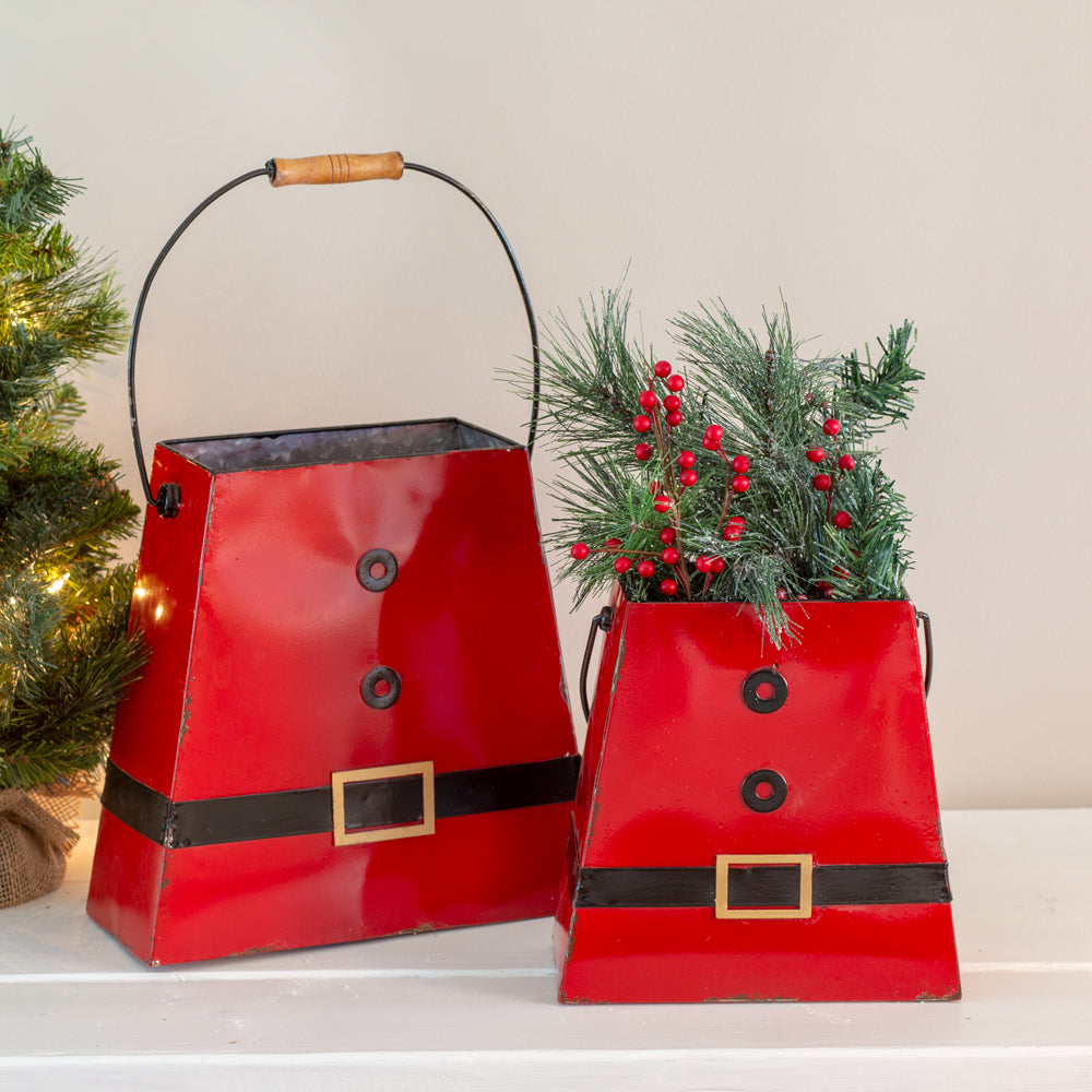 Set of Two Santa Suit Buckets