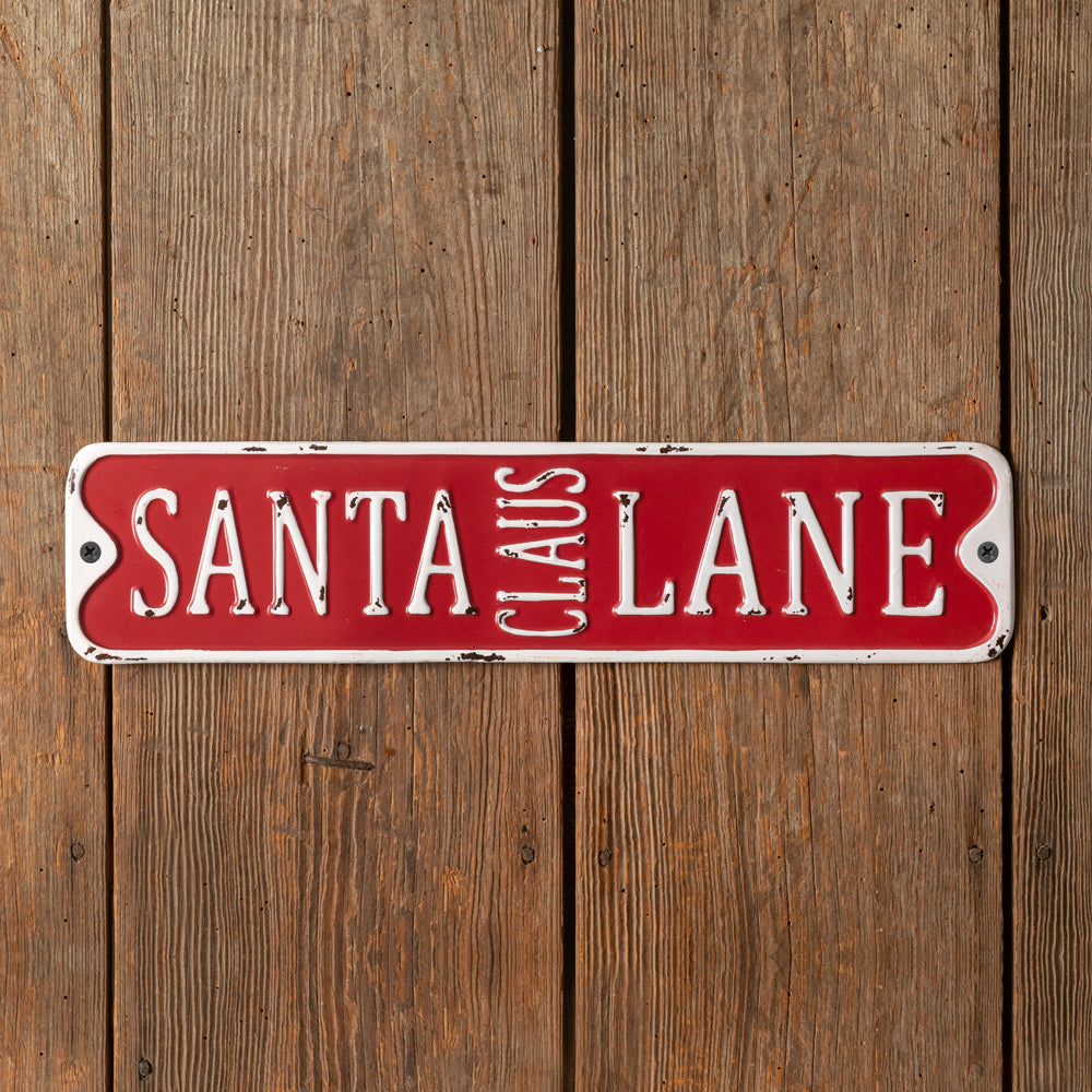 Santa Claus Lane Metal Wall Sign