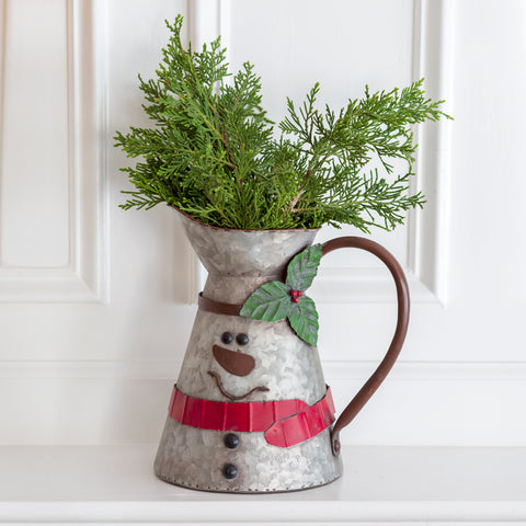 Snowman Tall Metal Pitcher