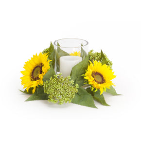 Sunflower and Sedum Candleholder