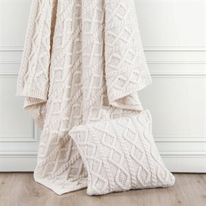 Cream Knit Throw